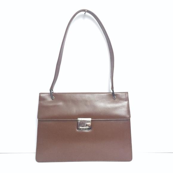 ebaa13166b8 Gucci Bags   Vintage G Logo Lock Brown Top Handle Bag   Poshmark